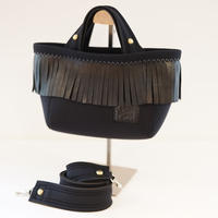 "LozzSandra/""Leather fringe"" MINI tote bag 【Stitch color: White】"