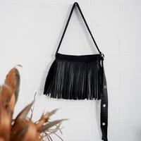 [予約販売]Lozz Sandra Leather Fringe  Wallet Bag / Black leather