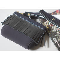 "LozzSandra/Mini ""Leather fringe"" shoulder bag【Black×White/Black Leather】"
