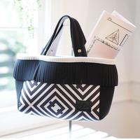 "LozzSandra/fringe tote bag/""Rhombus"" オリジナル柄 (ブラック フリンジ)"
