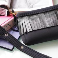 "LozzSandra/Mini ""Leather fringe"" shoulder bag【ブラック/ブラックレザー】"