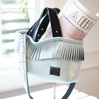 LozzSandra/fringe tote bag「lace」collection series(アイスブルー)