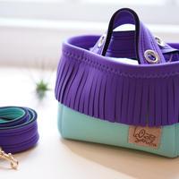 LozzSandra/fringe MINI tote bag(グレープ フリンジ)
