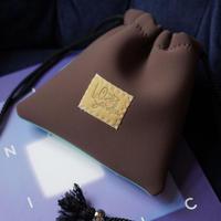 LozzSandra/bi-colorポーチ(ブラウンxミント)