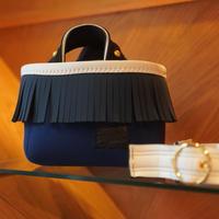 LozzSandra/fringe MINI tote bag(ネイビー/スレート/ホワイト)