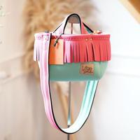 LozzSandra/fringe MINI tote bag(ネオンピンク フリンジ)