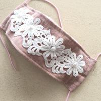 即納可※折り返しマスクピンクグレー白花1※送料は別カートに必ずお入れ下さい