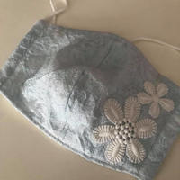 竹布ガーゼ使用 ※大きめサイズ 即納可 水色レース立体マスク ※送料は別カートにお入れ下さい