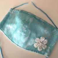 竹布ガーゼ使用 ※大きめサイズ 即納可 ブルーレース立体マスク ※送料は別カートにお入れ下さい