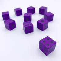 木製6面ダイス10個セット(紫/16mm)