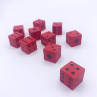 【卸売価格】木製6面ダイス100個セット(赤/16mm)