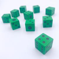 木製6面ダイス10個セット(緑/16mm)