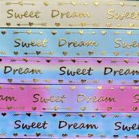 B Sweet Dreamゴールドホイルグログランリボンセット 5種x2m@10mセット