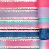 B 25mm Rainbow Wishサイドロゴグログランリボンセット 5種x2m@10mセット