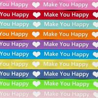 13mm make you happy ロゴグログランリボン 1mx10カラー=10mセット