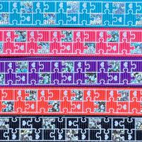 B 13mm ホロ入りパズル柄グログランリボンセット 5種x2@10mセット