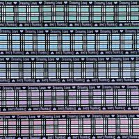 B 38mm  パープルサイドロゴチェックグログランリボンセット 5種x2m@10mセット