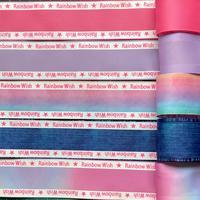 B 38mm Rainbow Wishサイドロゴグログランリボンセット 5種x2m@10mセット