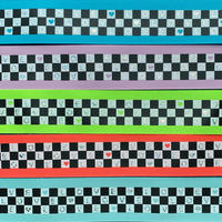 ブロックチェックLOVE38mmグログランリボンセット 10種x1m@10mセット