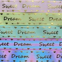A Sweet Dreamゴールドホイルグログランリボンセット 5種x2m@10mセット