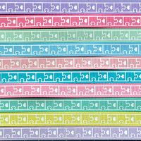 9mmパズル柄グログランリボンセット 10種x1m@10mセット
