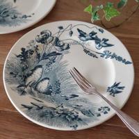 ヴィエイヤー ボルドーの平皿 鳥とコクリコ柄