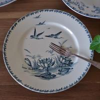 バドンヴィレー鳥と睡蓮が美しいプレート