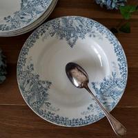 真っ白い鳩とお花のガーランドのスーププレート#6