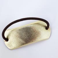 革のヘアゴム(ゴールド)
