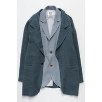 LAYERING LINEN JACKET (LIGHT BLUE×BLUE)