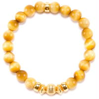 GOLD TIGER EYE & GOLD BALL BRACELET -8mm-