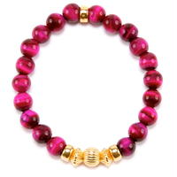 PINK TIGER EYE & GOLD BALL BRACELET -8mm-
