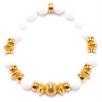 WHITE ONYX & GOLD BALL BRACELET