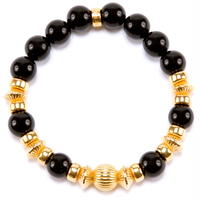 Onyx & Gold Charm Bracelet