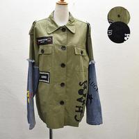 袖デニム切り替えリメイク風ジャケット(NO.5596)