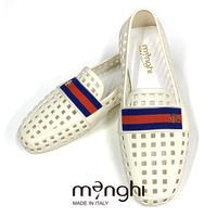 【訳あり】menghi メンギー - イタリア製 ドライビングラバーシューズ 4902 ホワイト(雑誌掲載モデル)