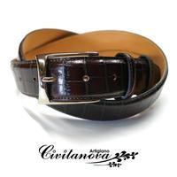 チビタノーバ - イタリア製 ハンドメイドベルト フリーサイズ クロコ型押し ダークブラウン PM-1426