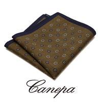 カネパ - イタリア製 ポケットチーフ ブラウンネイビー ウール W-03
