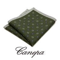 カネパ - イタリア製 ポケットチーフ オリーブ ウール W-05