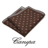 カネパ - イタリア製 ポケットチーフ ブラウングレー ウール W-01