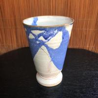 陶器 萩焼 和食器 作家 和モダン カフェ フリーカップ ワイングラス マーブル青 ブルー