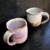 陶器 萩焼 和食器 作家 和モダン カフェ コーヒー輪花  ペアマグカップ  C10 C11新 白景山 木箱入