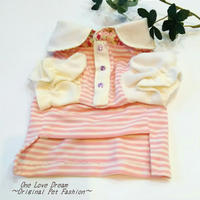 シンプル可愛いTシャツ♥フリフリ袖♥ピンクボーダー★小型犬