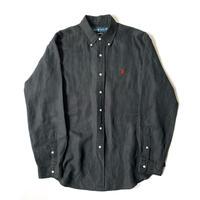 """1990s Ralph Lauren """"CLASSIC FIT"""" Black Linen/Silk Shirt"""