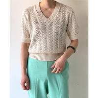 1980s V-neck Off White S/S Knit