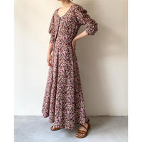 1980s Floral Printed Rayon Dress