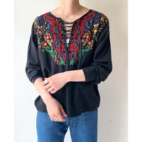 1980s Lace Up Indian Cotton Embroideried  Top