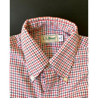 1980s L.L.Bean Tattersall check Shirt - White/Red /Black (S)