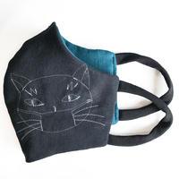 燐のガーゼマスク マスク猫 黒
