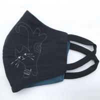 燐のガーゼマスク さか立ち猫 黒